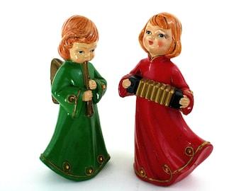 Christmas angels figurines handpainted vintage Christmas decor midcentury Brinns figurines
