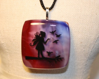 ON SALE - Handmade Fused Glass Pendant Necklace - Fairy - Fused Glass Necklace - Fused Glass Pendant