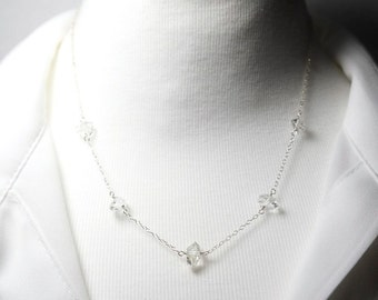 Herkimer Diamond Necklace Herkimer Necklace Herkimer Jewelry Beaded Crystal Necklace