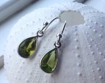 Petite Teardrop Peridot Earrings -August birthstone, peridot bezel briolette,sterling silver, natural gemstone, green  gemstone