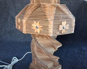 Vintage tramp art popsicle stick lamp