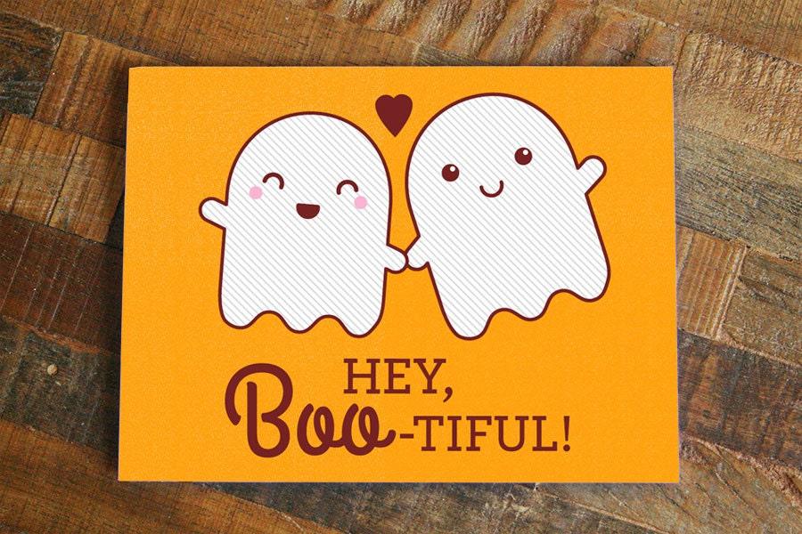 Funny Halloween Love Card Hey Boo Tiful
