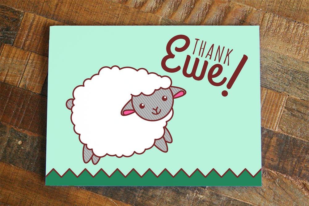 thank ewe thank you card cute sheep art card animal pun