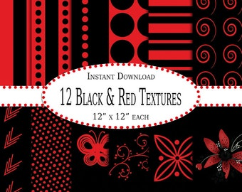 12 Black and Red Textures - Instant Download - Scrapbook - Party - Shower - Personal - Commercial