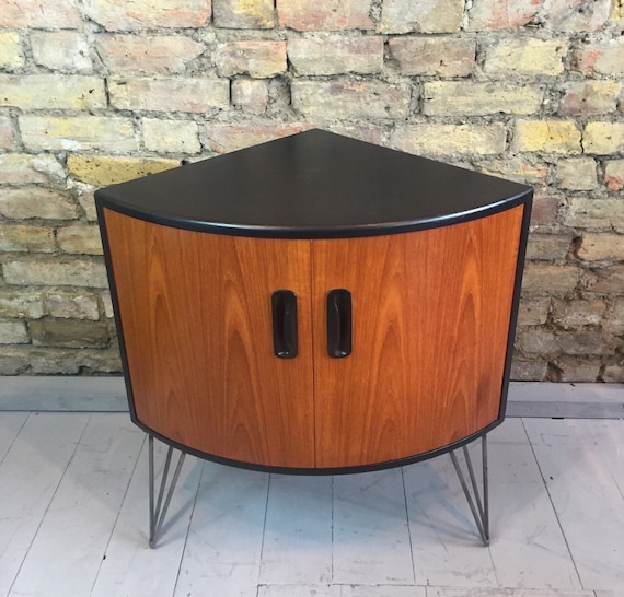 Upcycle vintage retro Gplan corner cabinet with industrial hairpin legs