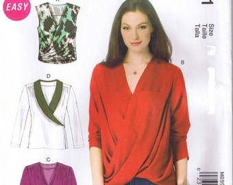 4 Styles Easy Pullover Mock Wrap Bias Tops McCalls 6991 Sewing Pattern Plus Size 16 18 20 22 24