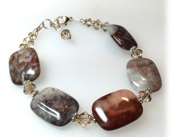 Handmade Flower Jasper bracelet, Golden Shadow Swarovski Crystals, Brown and Tan Jewelry