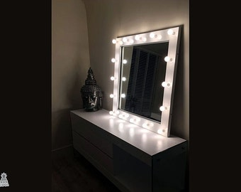 1m x 1m Large Illuminated Hollywood Make Up Vanity Mirror - Any Size or Colour Available - Hand Made In Great Britain