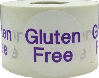 "Gluten Free Stickers   Food Allergy Warning Labels - 1.5"" Round - 500 Stickers"