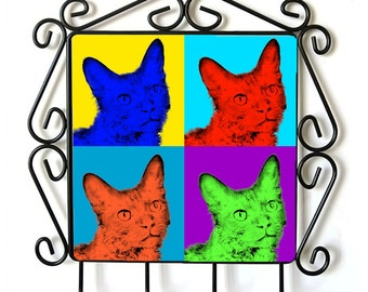 LaPerm- clothes hanger with an image of a cat. Collection. Andy Warhol Style