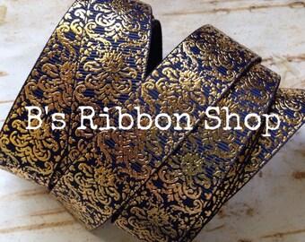 """7/8"""" Gold Foil Damask on Navy USDR 1 yard grosgrain ribbon"""