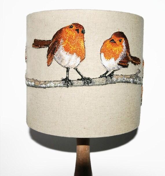 Bird Lamp Shades: Items Similar To Robin Lampshade, Embroidered Lampshade