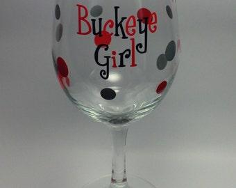 Ohio State Buckeye Girl Wine Glass
