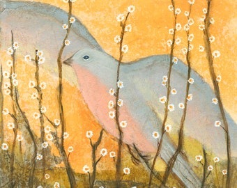 Bird With Flowers 1.  Giclee Print on Canvas