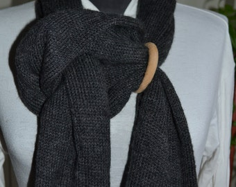 Long knitted wool scarf long soft wool warm dark gray scarf Snood neck scarf, a shrug machine knitting