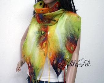 Nuno Felted Silk Wool Scarf Shawl Wrap APPLE GREEN and RED Orange