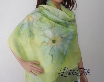Nuno Felted Silk Scarf Shawl Wrap Apple GREEN and WHITE