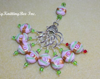 Snag Free Large Stitch Markers in Pink and Turquoise with Lead Marker and Holder (Set of 8) (0020)