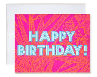 Pretty Bamboo Floral Pink Happy Birthday Card