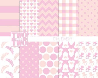 "Baby Digital Paper: ""BABY GIRL PINK"" with Pacifiers, Onesies, Tiaras, Hearts, Stripes, and Polka Dot Patterns for Baby Shower Invitations"