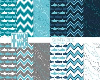 "Shark Digital Paper: ""SHARK BITE!"" for Party Invitations and Decorations or Nursery Art, Kids Room, or Bathroom Decor"