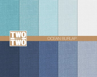 "Burlap Digital Paper: ""OCEAN BURLAP"" in Beach Shades of Blue, Green, Navy, Aqua, and White, Burlap Texture, Summer Burlap Background"