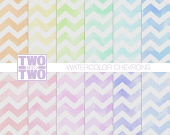Watercolor Chevron Digital Paper with Pink, Green, Blue, Purple, Orange and Yellow Patterns, Spring or Easter Background