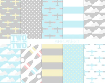 "Airplane Digital Paper: ""AIRPLANES II"" with Clouds and Propellers for Birthday, Baby Shower, Party Invitations, Nursery Art, Kids Room Decor"