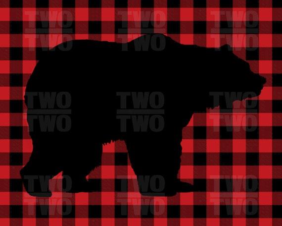 black bear print on red buffalo plaid background rustic