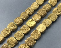 20pcs Golden Titanium Druzy Beads,10mm Drilled Square Druzy Cabochons,Metallic Druzy Quartz Beads Strand,Raw Drusy Jewelry Making Supplies