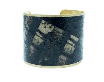 Statement Jewelry - Brass Cuff Bracelet - Statement Bracelet - Black Statement Bracelet - Romantic Gift - Gifts for Women -  Sku R21-004