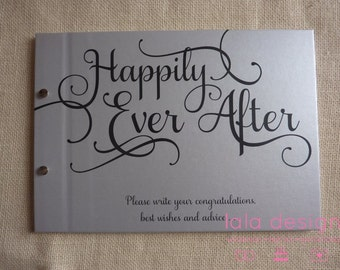 """Guest Book A5 Silver """"Happily Ever After"""" for Weddings, Engagements and Parties"""