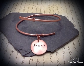Copper adjustable bangle bracelet with optional personalized stamped charm