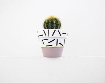 Hand Painted Mauve Dash Plant Pot - 6cm