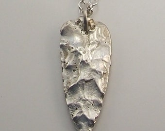 Hand Cast Sterling Silver Arrowhead Necklace Sterling Silver Chain