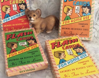 Vintage Flash Cards Division/Multiplication/Subtraction  Addition Home School Education