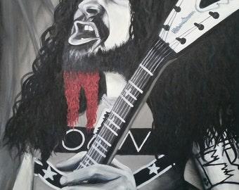 Dimebag Darrell Portrait Original Acrylic Painting Canvas Wall Art Heavy Metal Rock