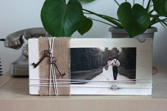 Items similar to rustic wood block photo frame wedding