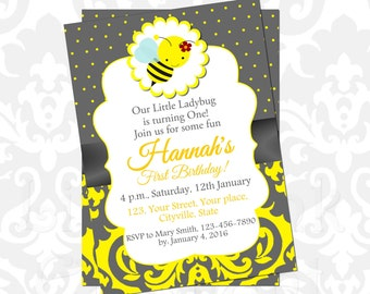 Bumble bee birthday invitation party printable birthday baby shower yellow gray grey bee party invites diy