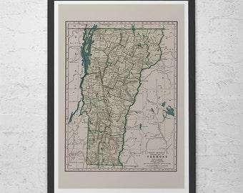VINTAGE VERMONT MAP - Vintage Map of Vermont Wall Art - Vintage Map Reproduction, Vermont Map Poster, Vermont Map Print