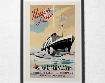 ANTIQUE TRAVEL POSTER - Union Lines Travel Poster - Art Deco Poster, Vintage Travel Poster, Nautical Decor, Fine Art Reproduction, Ribba
