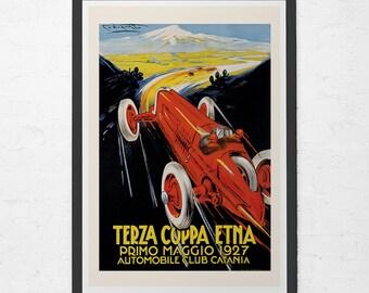 1927 ANTIQUE CAR POSTER - Terza Coppa Etna Poster - Grand Prix Car Poster, High Quality Reproduction, Italian Car Wall Art