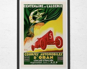 1930 ANTIQUE CAR POSTER - D'Oran Cuircuit Algiers Race Car Poster - Grand Prix Car Poster, High Quality Reproduction, Car Racing Wall Art