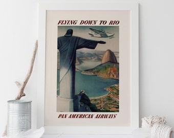 BRAZIL TRAVEL POSTER - Art Deco Travel Poster - Rio Travel Poster, Cottage Wall Art, Home Decor