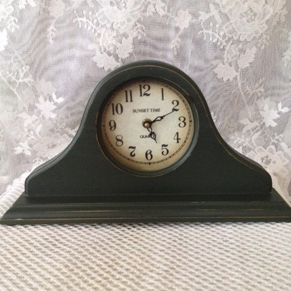 Mantle Clock Distressed Finish Rustic Wood Shelf Decor