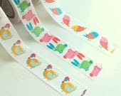 Set of 3 Easter washi tapes (bunnies, chicken & birds)