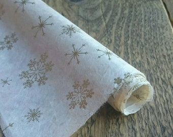 Gold Snowflake Wrapping Paper. Handmade Lokta Paper. Christmas Gift Wrap. 75 x 50cm.
