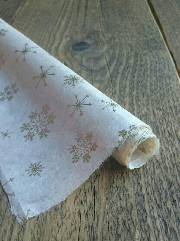 gold snowflake wrapping paper handmade lokta paper christmas