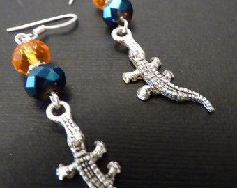 UF Florida Silver Gators with Orange and Blue Crystal Accents
