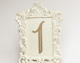 Table number frames 4 x 6 ivory and gold wedding frames ornate baroque style